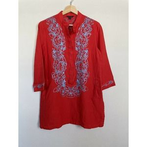 Brooks Brothers Red Linen Embroidered Tunic Size 8